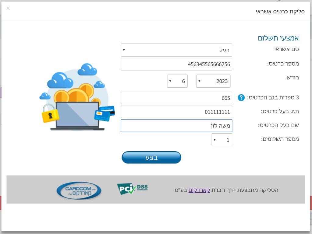הזנת פרטי כרטיס האשראי בעת התשלום בסליקת כרטיס אשראי